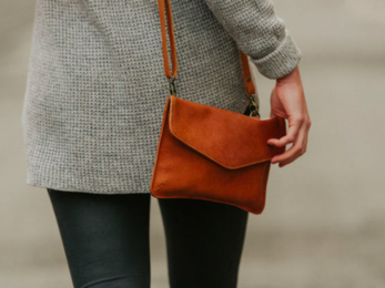 /Leather Envelope Clutch