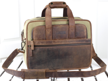 /Leather and Canvas Laptop Bag