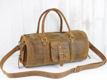 /Leather Barrel Gym Bag