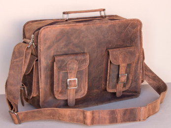 /Large Leather Vintage Flight Bag