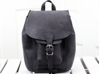 /Black Leather Boho Mini Backpack