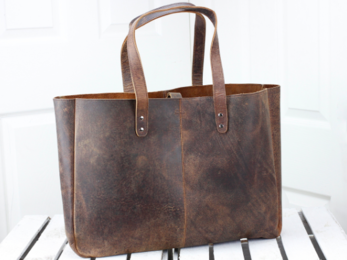 /Leather Shopper Tote Bag