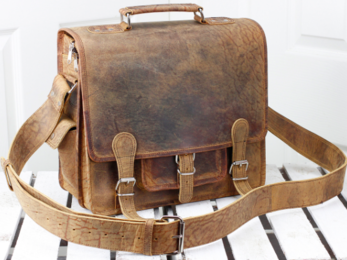 /Small Overlander Leather Bag 14''