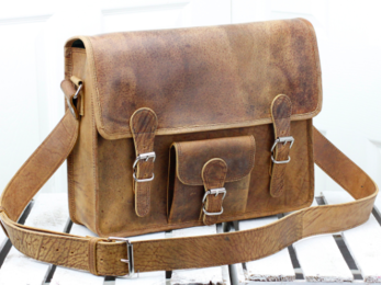 /Medium Vintage Leather Satchel With Front Pocket 15''