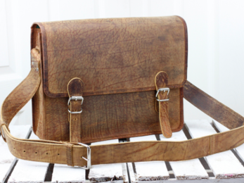 /Medium Vintage Leather Satchel 15''