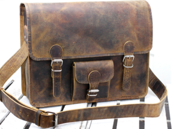 /Large Vintage Leather Satchel 16'' With Pocket