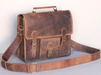 /Small Leather Satchel With Front Pocket And Handle 13''