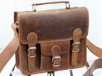 /Mini Leather Satchel With Pocket And Handle 11''